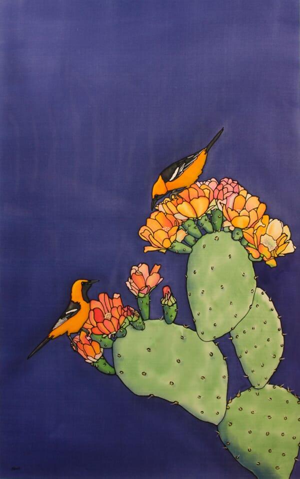 A Little Bird Told Me - Orange Orioles and Cactus