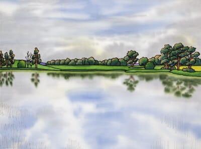 Angerton Lake from the Boathouse, Hartburn, Northumberland